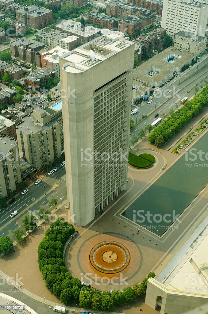 Aerial view of Boston from Prudential tower building royalty-free stock photo