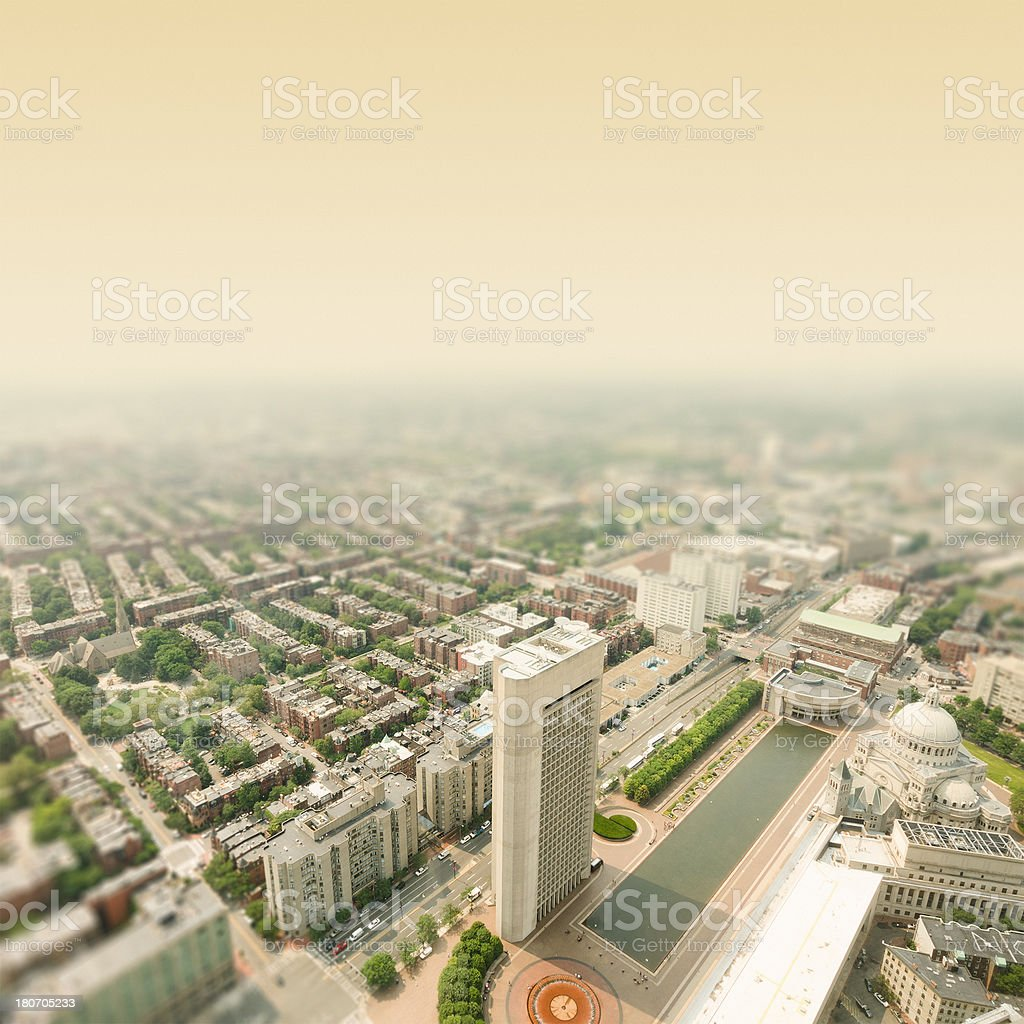Aerial view of Boston iwith Huntington Ave royalty-free stock photo