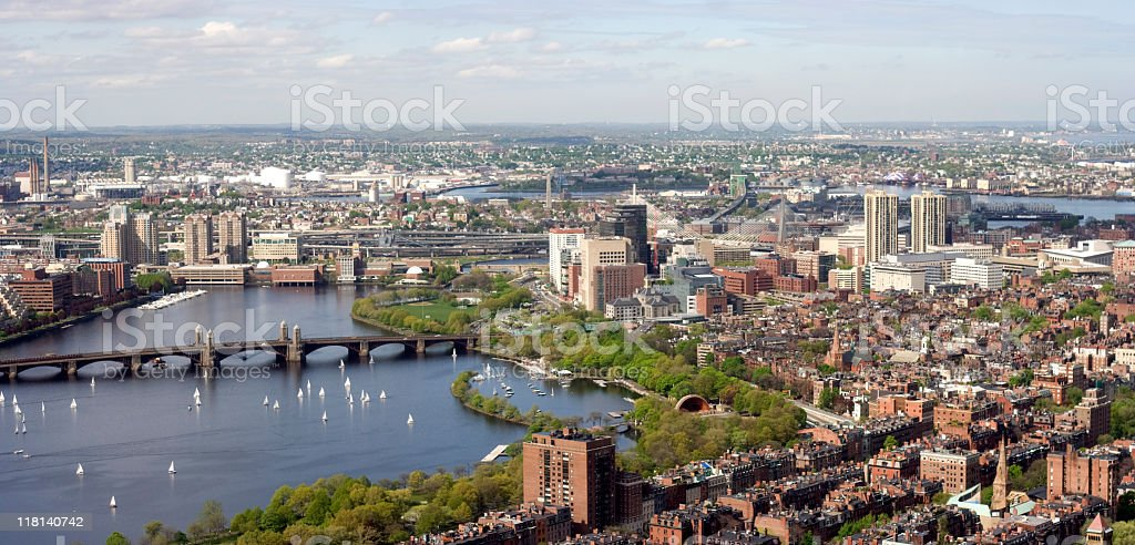 Aerial View of Boston royalty-free stock photo