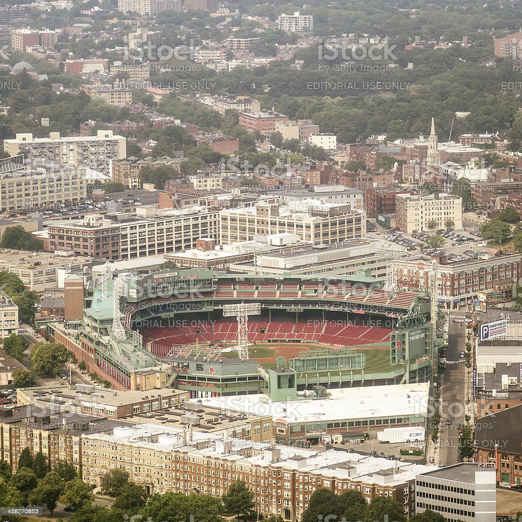 Aerial view of Boston with Fenway Park royalty-free stock photo