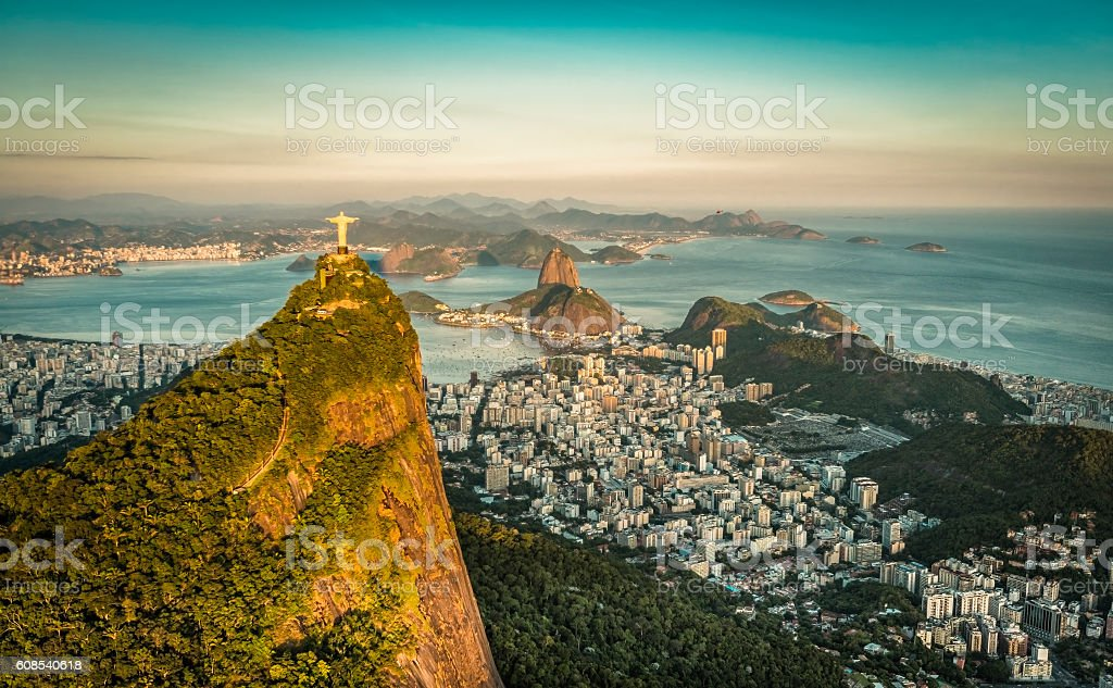Aerial view of Botafogo Bay and Sugar Loaf Mountain, Rio stock photo