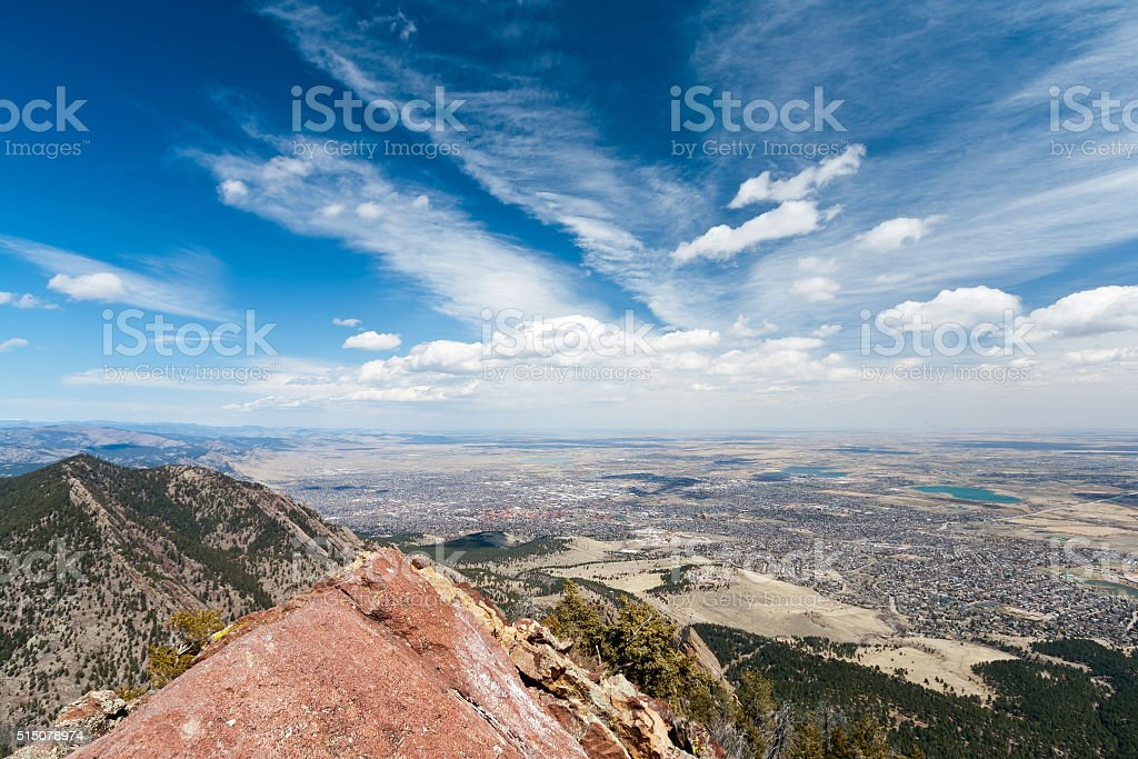 Aerial View of Boulder, Colorado stock photo