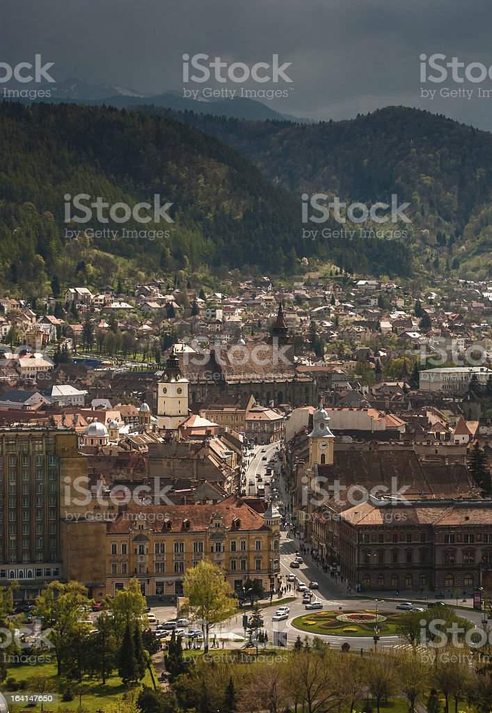 Aerial view of Brasov city centre royalty-free stock photo