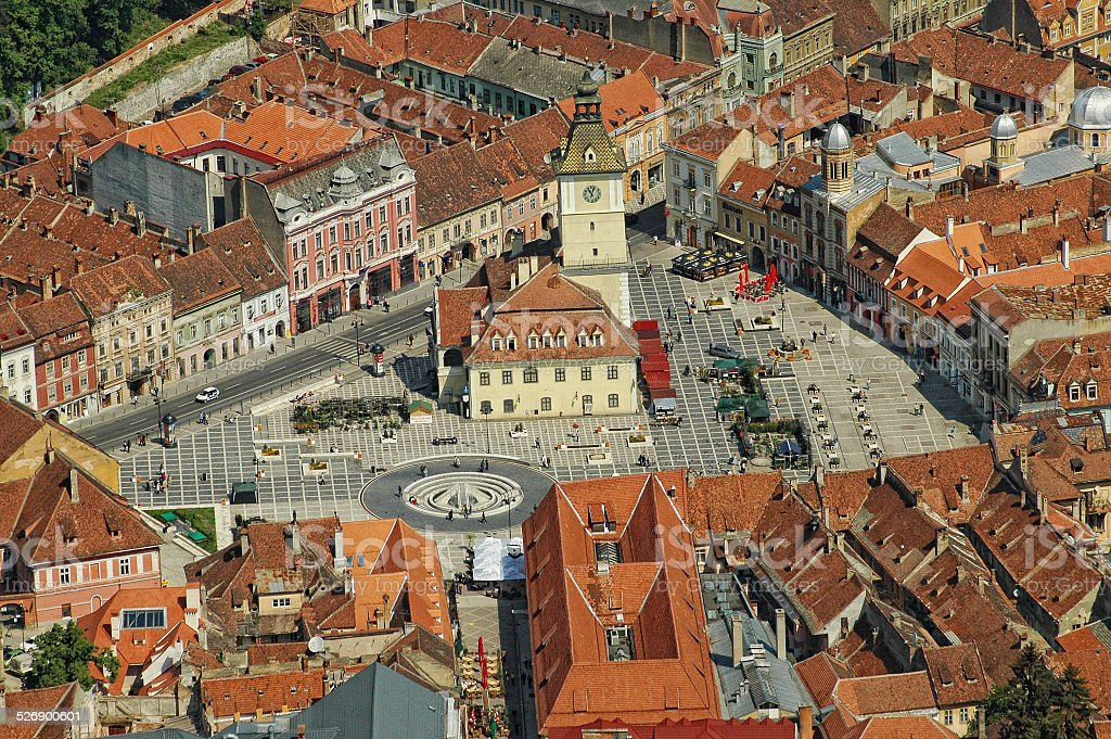 Aerial view of Brasov city, Romania stock photo