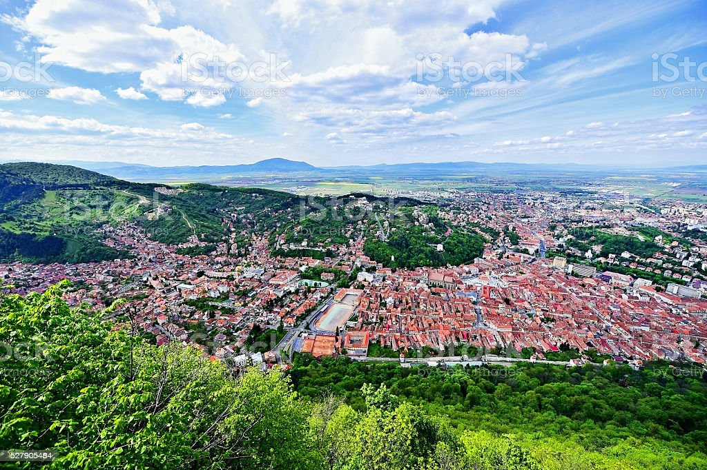 Aerial view of Brasov old town in spring stock photo