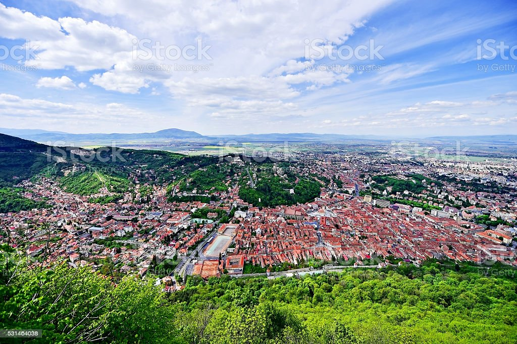Aerial view of Brasov old town in springtime stock photo