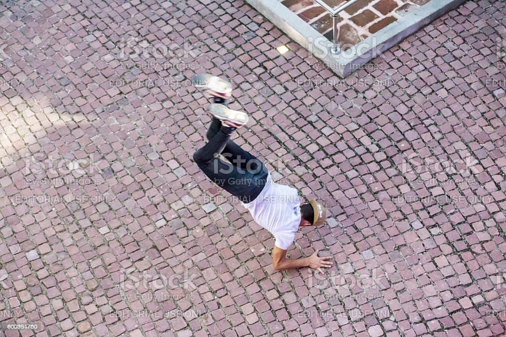 Aerial view of breakdancing stock photo