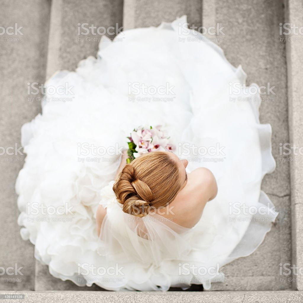 Aerial view of bride in wedding dress  stock photo