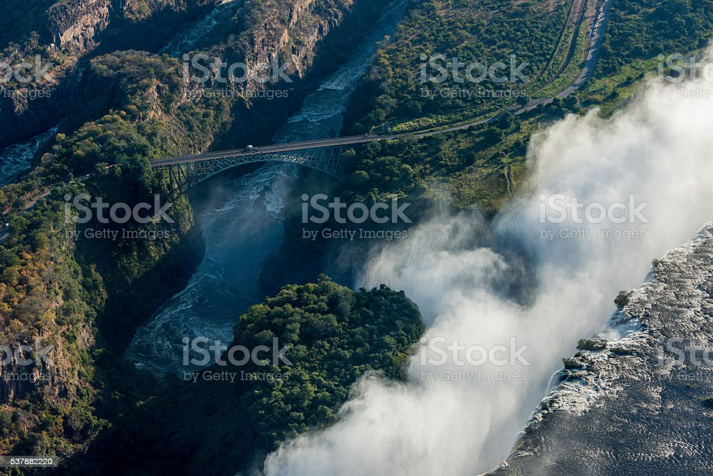 Aerial view of bridge behind Victoria Falls stock photo
