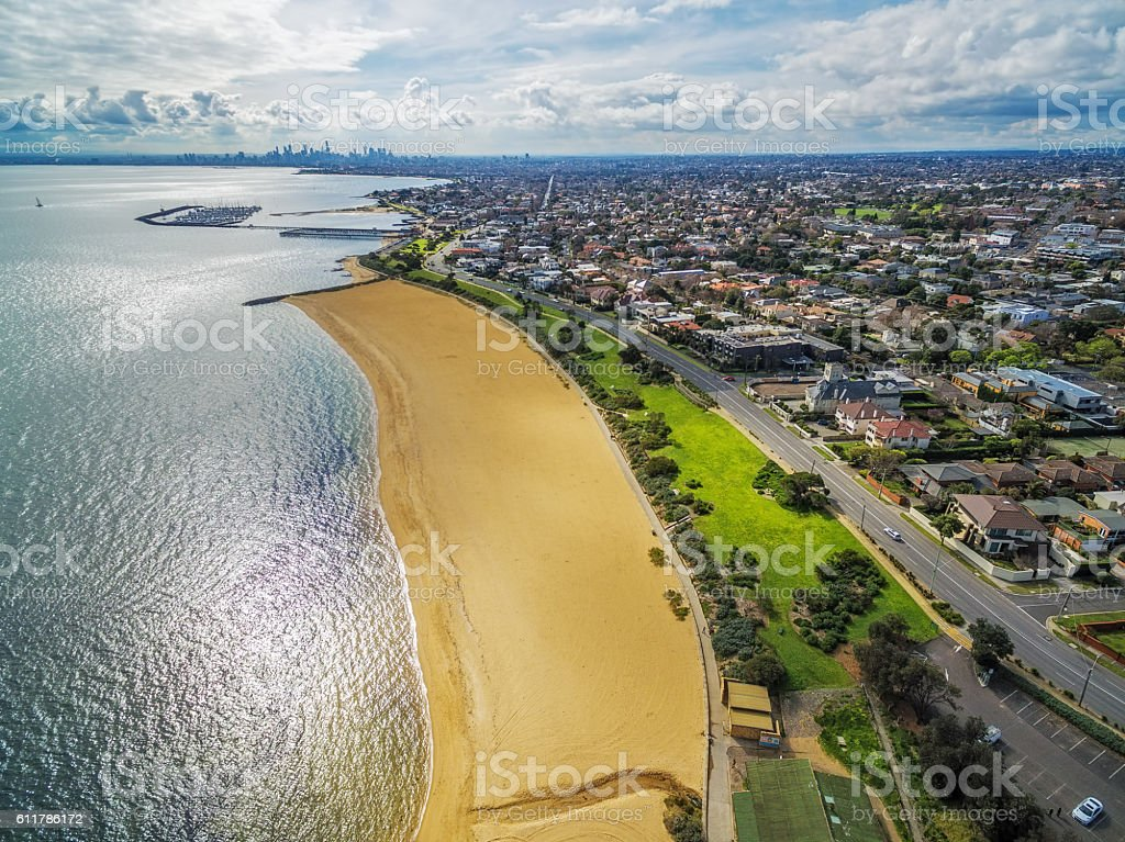 Aerial view of Brighton Beach and Melbourne CBD stock photo