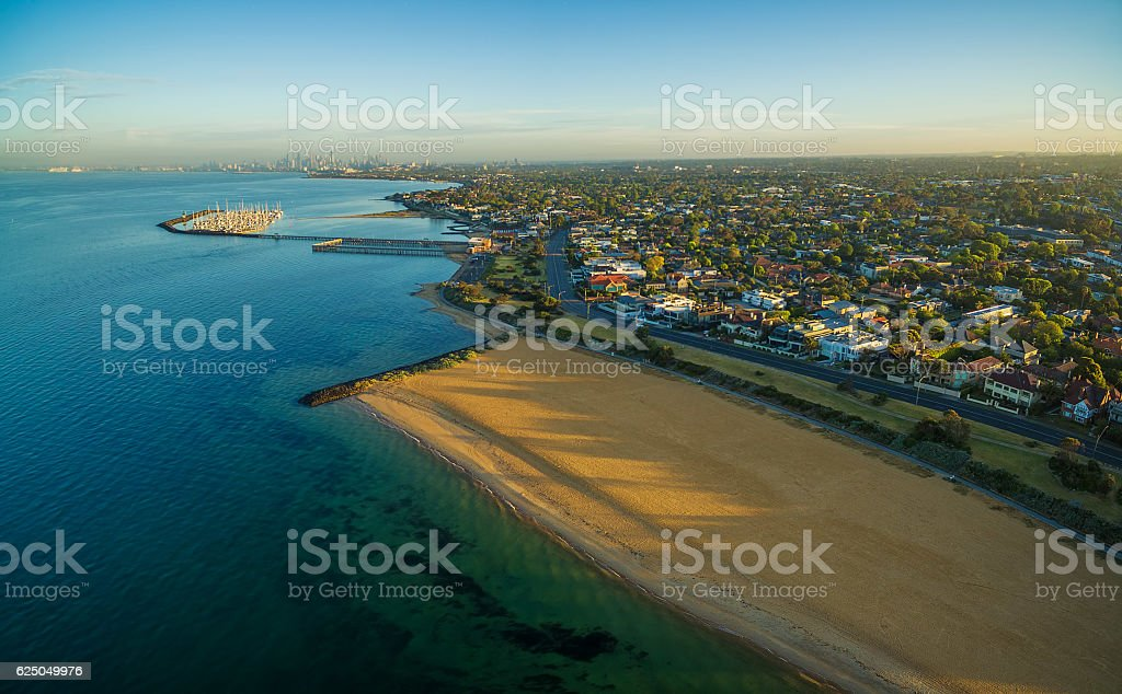 Aerial view of Brighton beach and suburb at sunrise. Melbourne, stock photo