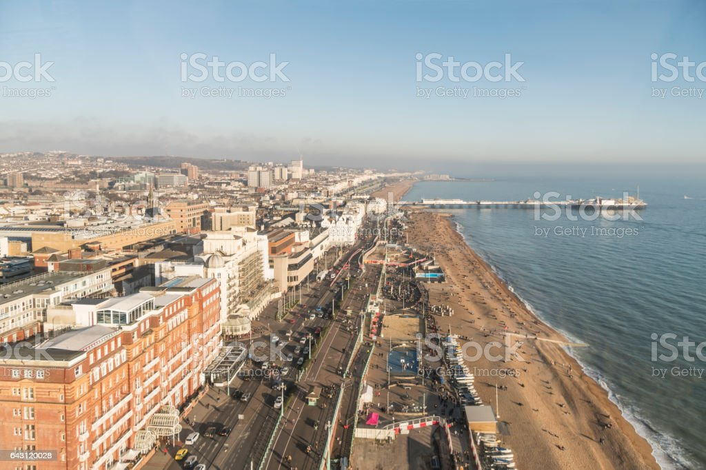 Aerial View of Brighton Seafront and Pier stock photo