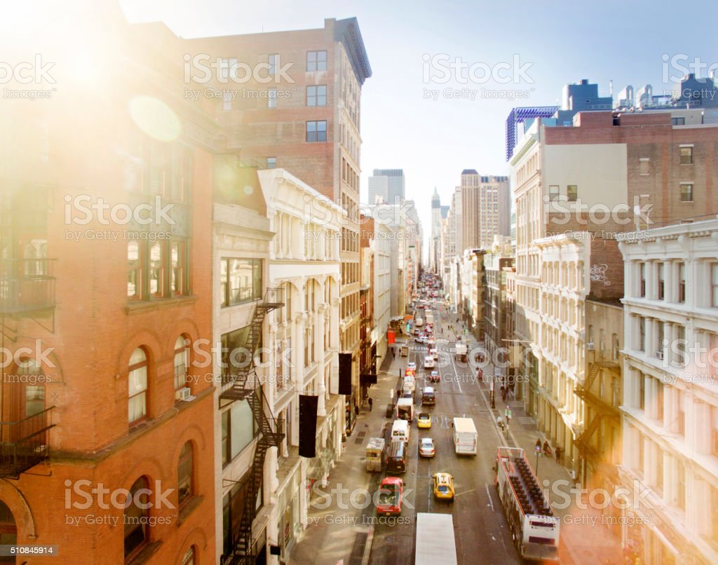 Aerial view of broadway,soho stock photo