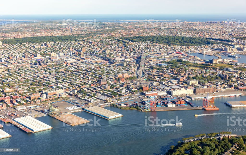 Aerial view of Brooklyn New York City stock photo