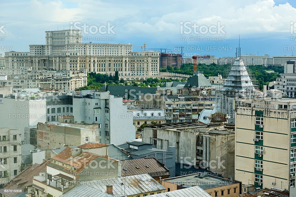 Aerial View of Bucharest stock photo