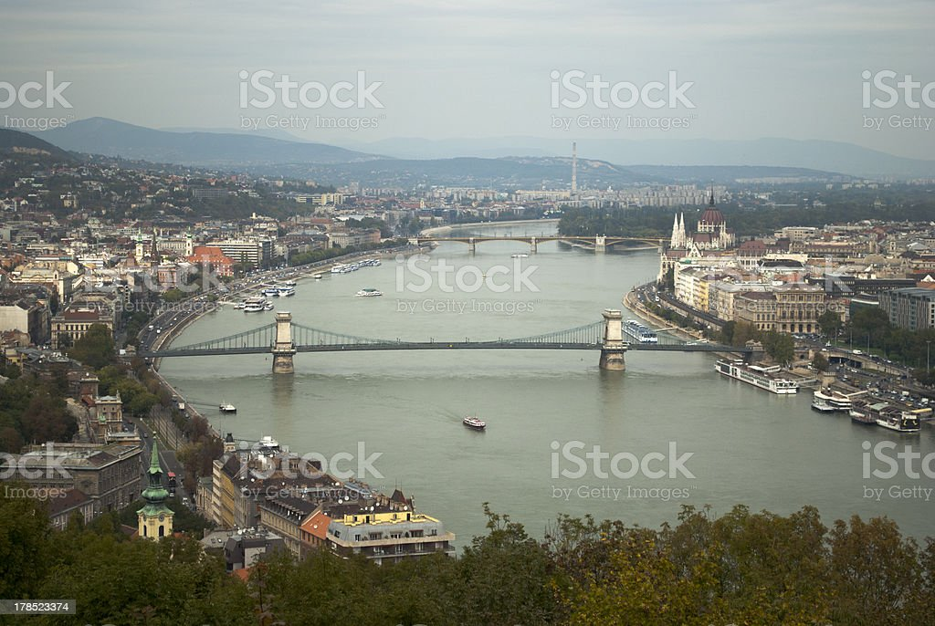 Aerial view of Budapest (Hungary) royalty-free stock photo