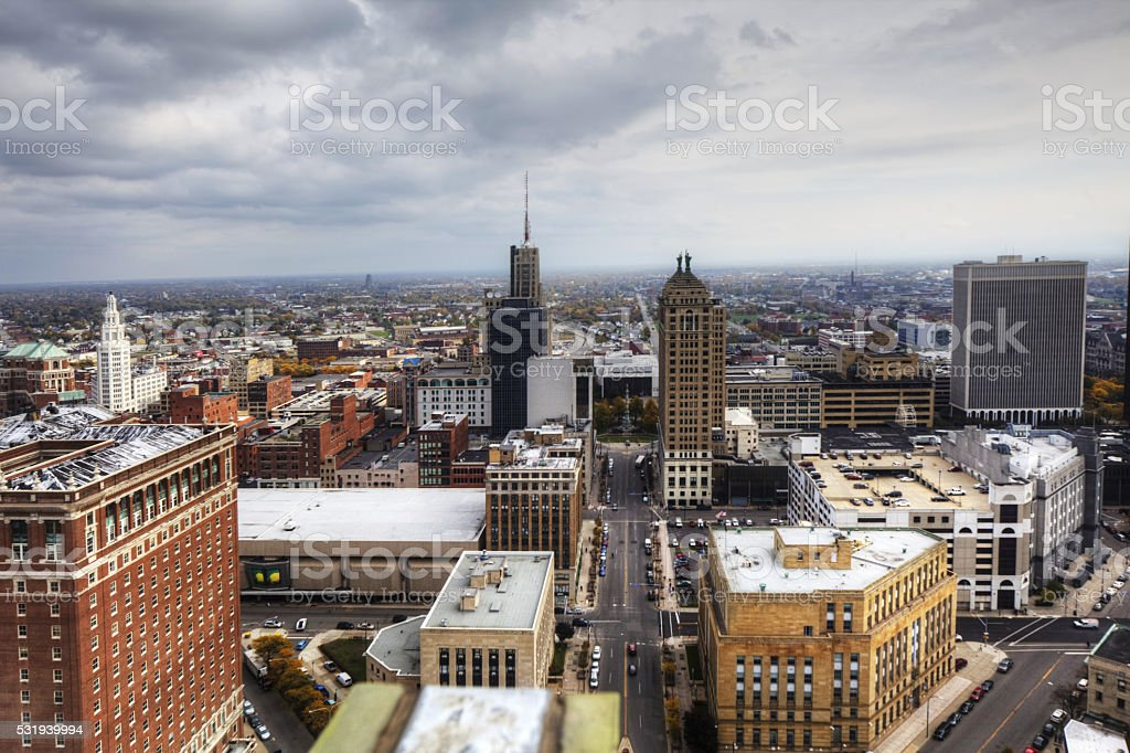 Aerial view of Buffalo, New York stock photo
