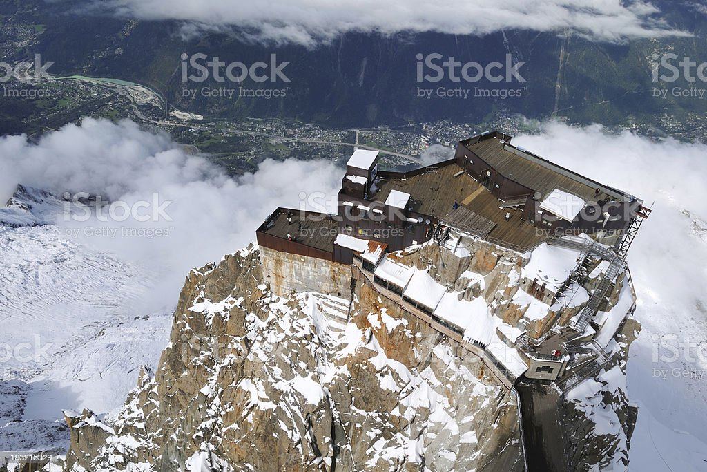 Aerial View of Building on the Mountain Peak - XLarge stock photo