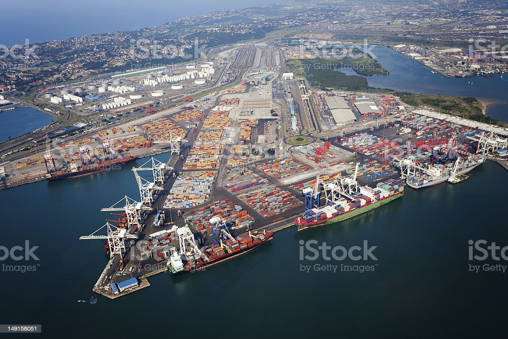 Aerial view of buildings in Durban Harbor, South Africa stock photo