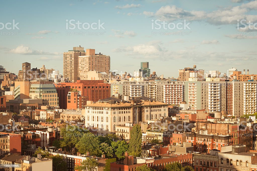 Aerial view of buildings in New York City stock photo