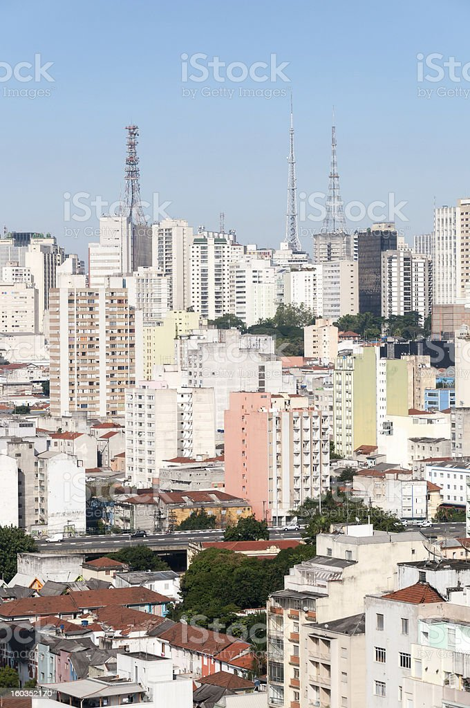 Aerial view of buildings on Paulista avenue, Sao Paulo royalty-free stock photo