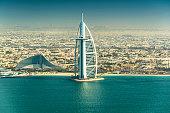 Aerial View Of Burj Al Arab Hotel, Dubai
