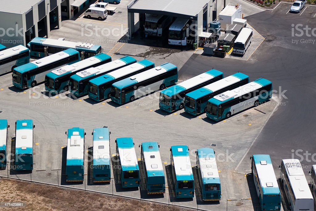 Aerial view of bus station depot royalty-free stock photo