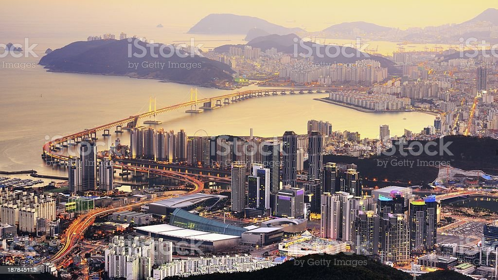Aerial view of Busan, South Korea at sunset stock photo