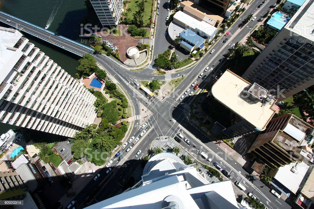 Aerial view of busy city roads royalty-free stock photo