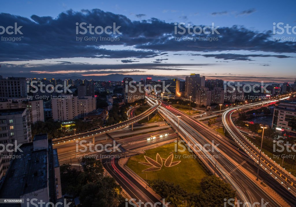 Aerial View of Busy Overpass in Beijing at Dusk stock photo