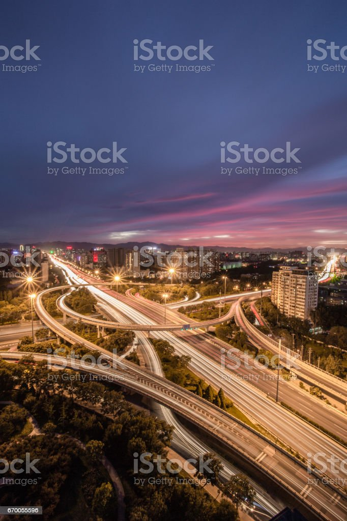 Aerial View of Busy Road Intersection in Beijing stock photo