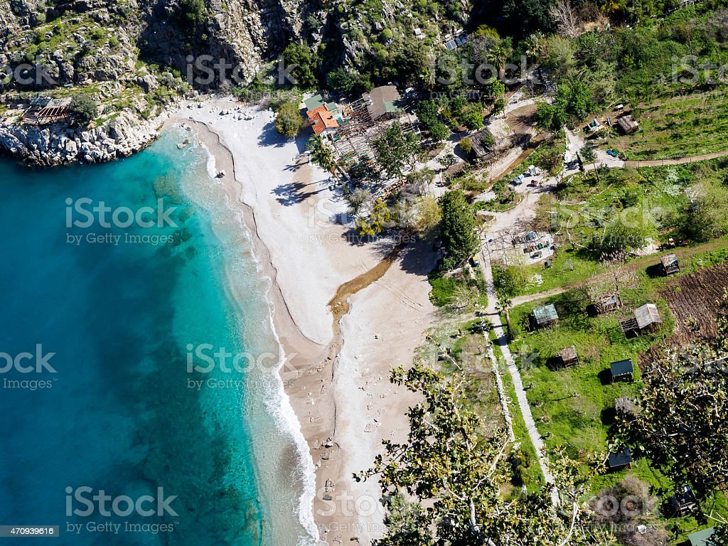 Aerial view of butterfly valley. Turkey. stock photo