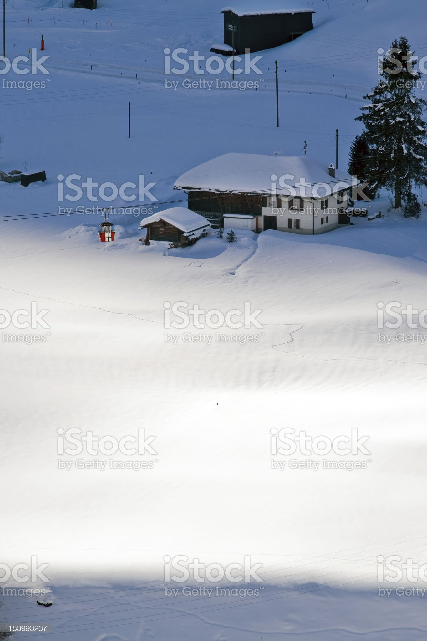 Aerial view of cableway and hotels in switzerland ski resort royalty-free stock photo