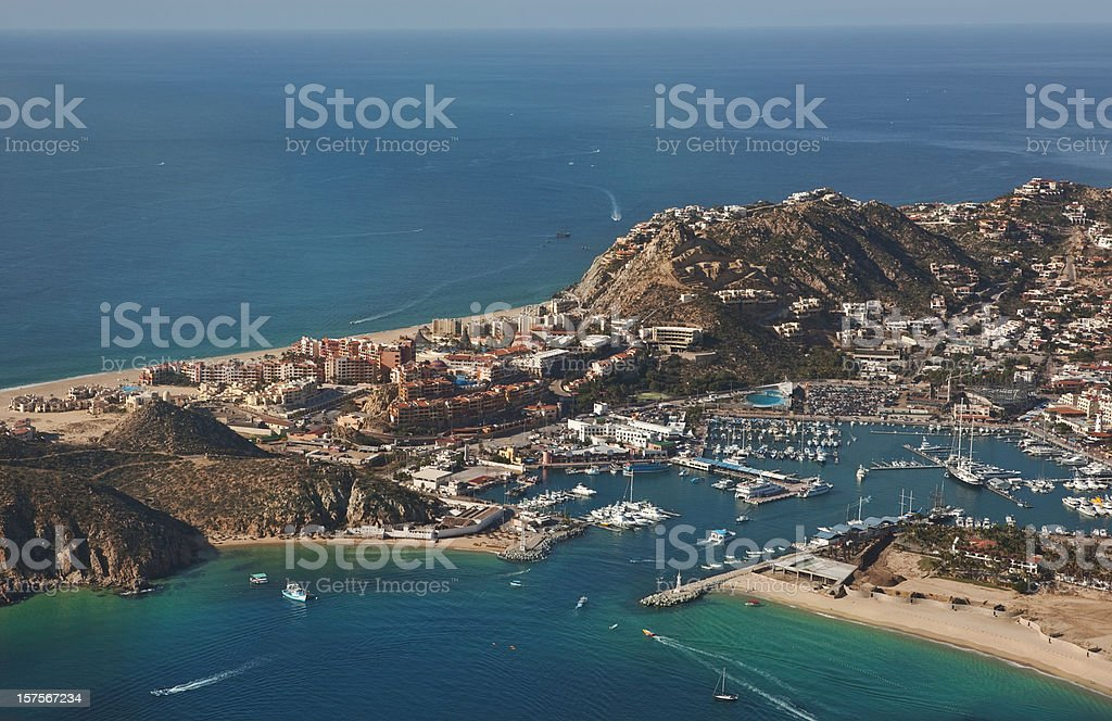 Aerial View of Cabo San Lucas Bay & Marina stock photo