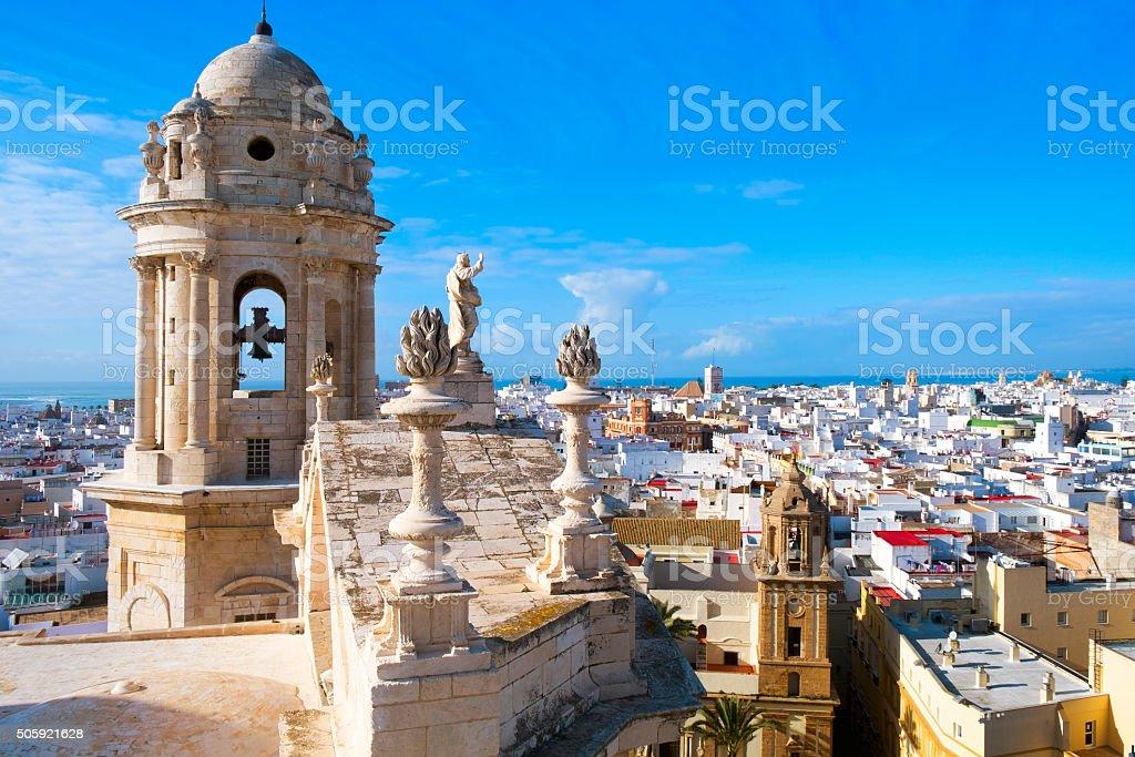 aerial view of Cadiz, Spain stock photo