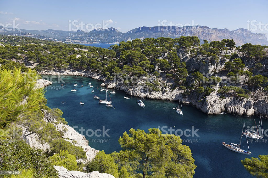 Aerial view of Calanques of Port Pin in Cassis stock photo