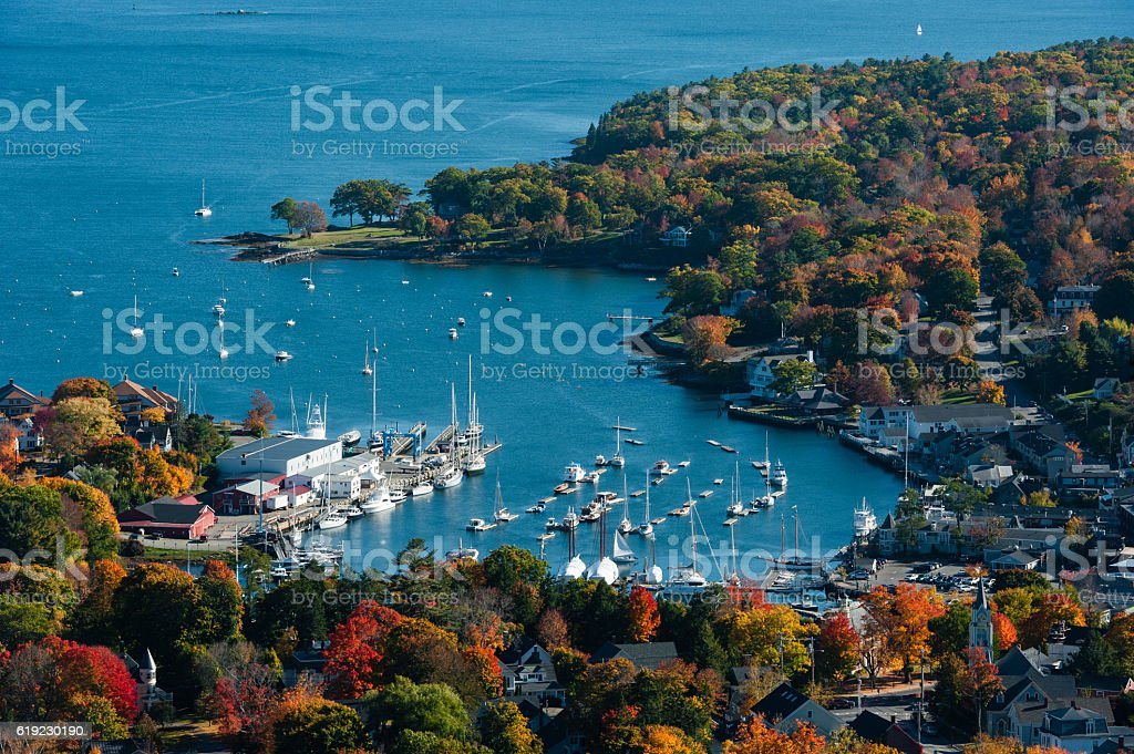 Aerial view of Camden, Maine harbor in fall stock photo