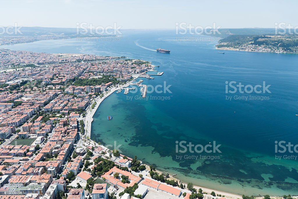 Aerial view of Canakkale City, Turkey stock photo