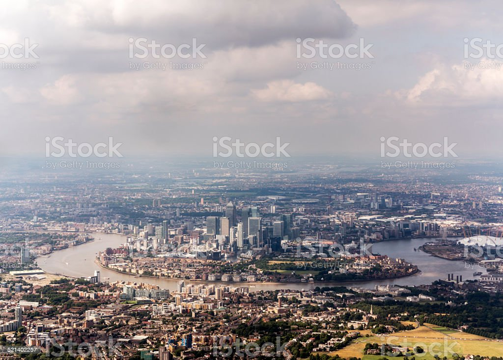 Aerial view of Canary Wharf and Greenwich, London stock photo