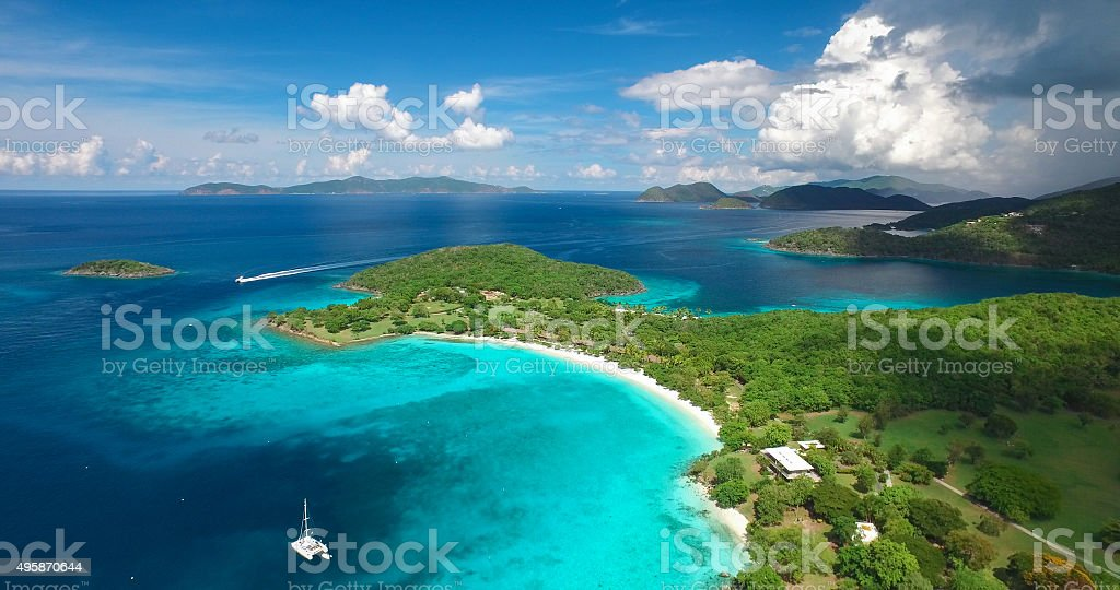 aerial view of Caneel and Hawksnest Bays, St.John, USVI stock photo