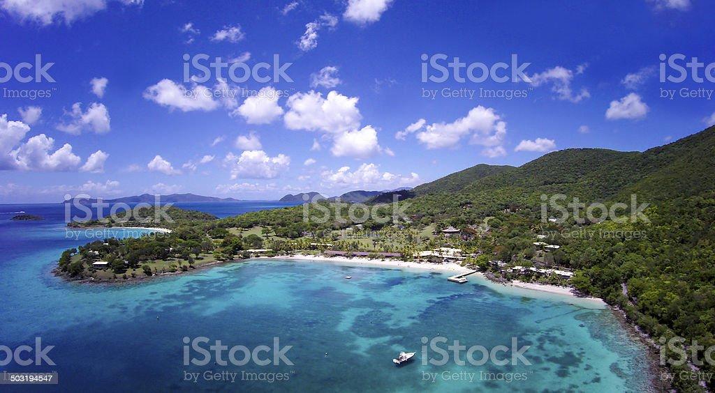 aerial view of Caneel Bay, St.John, US Virgin Islands stock photo