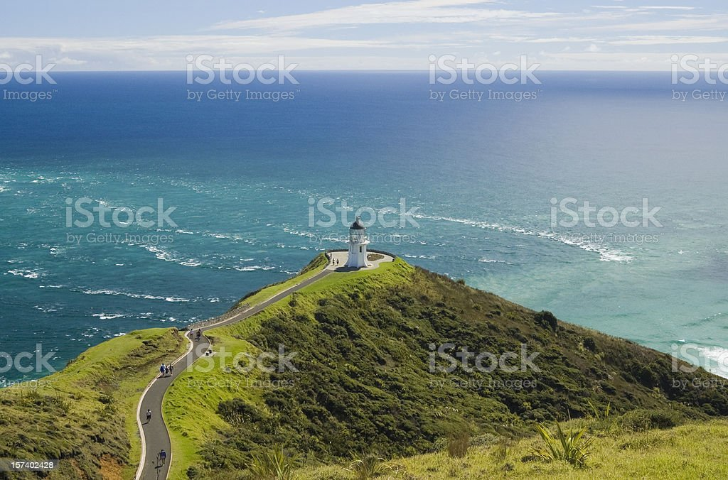 Aerial view of Cape Reinga with a stormy sea stock photo