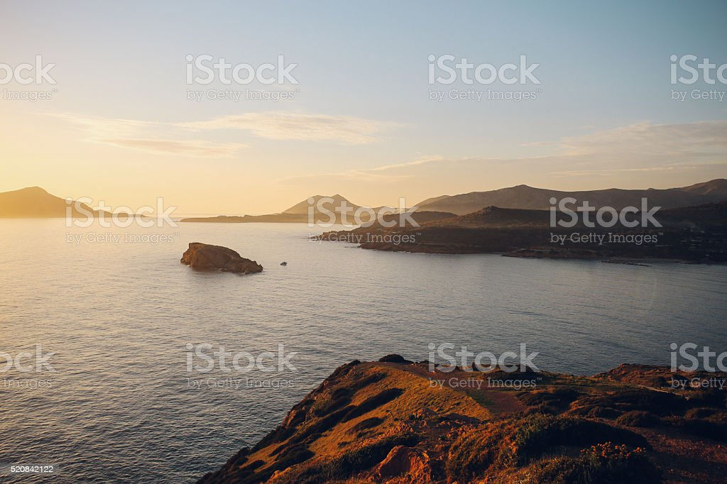 Aerial view of Cape Sounion view stock photo
