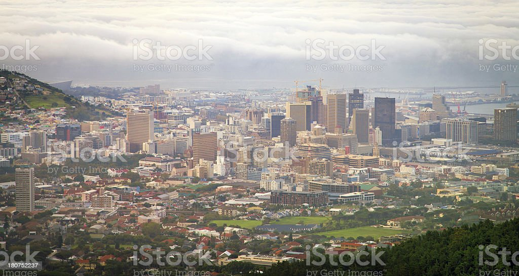 'Aerial View of Cape Town City, South Africa.' stock photo