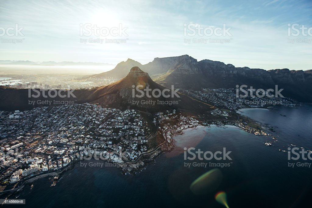 Aerial view of cape town city with devil's peak stock photo