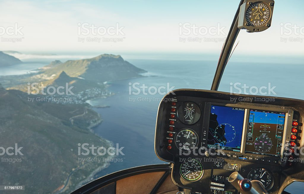 Aerial view of Cape town from a helicopter cockpit stock photo