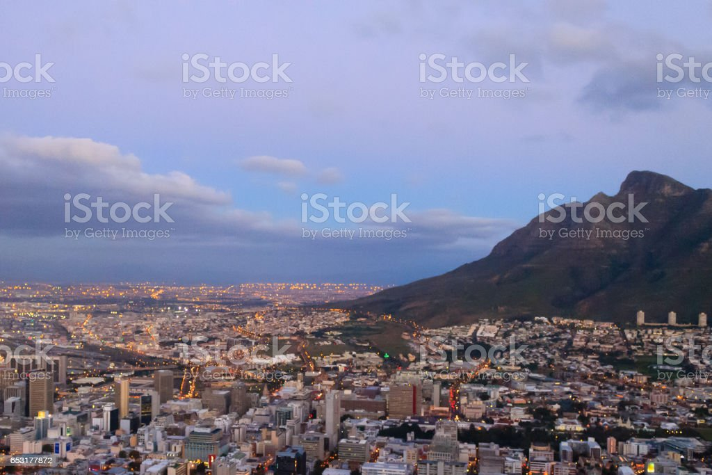 Aerial view of Cape Town from Signal Hill, South Africa stock photo