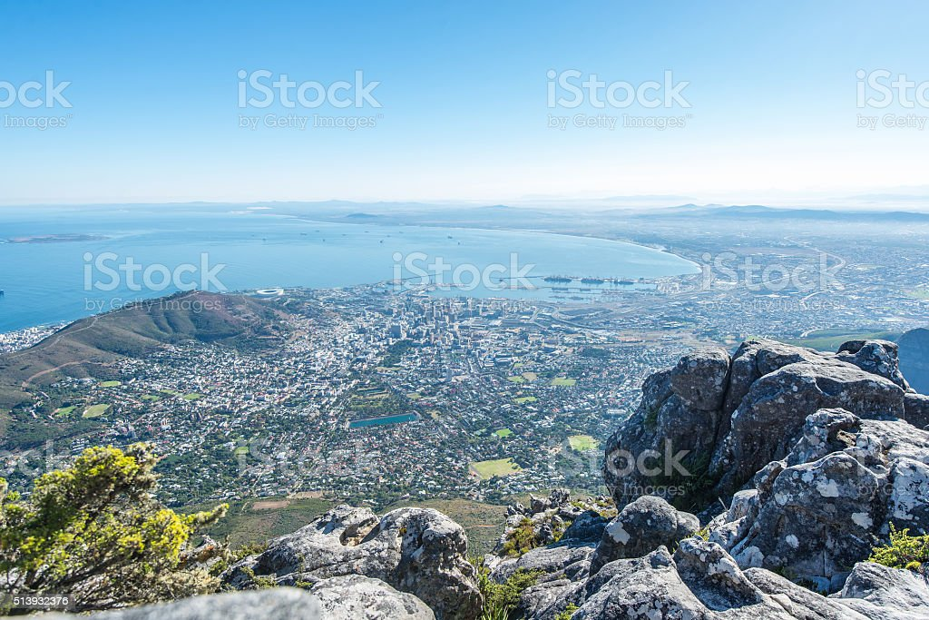 Aerial view of Cape Town, South Africa stock photo