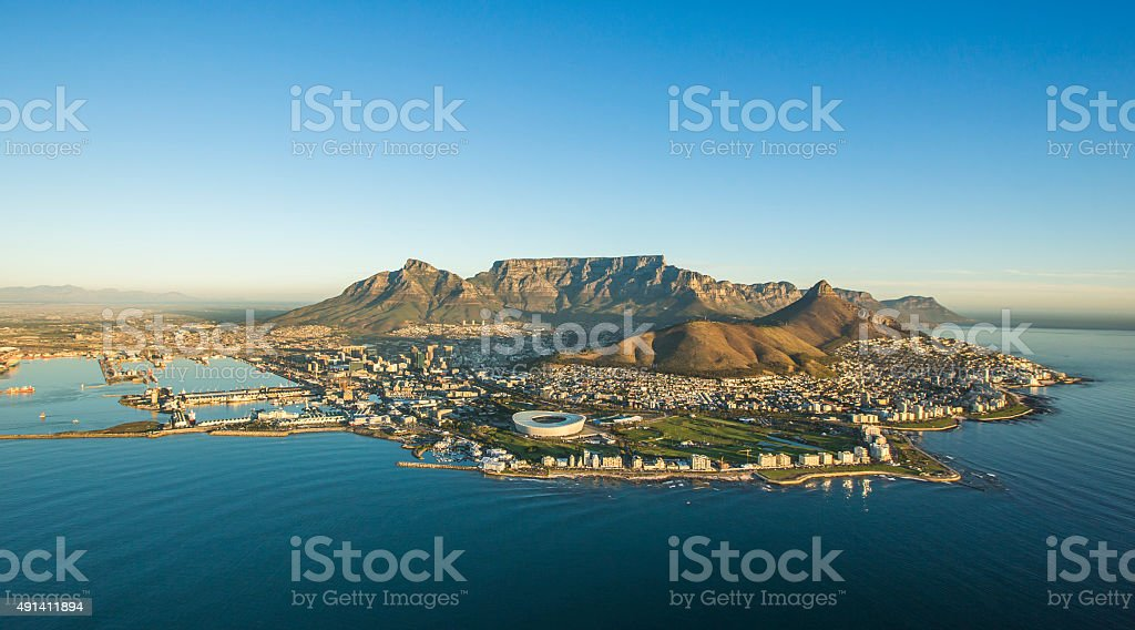 Aerial view of Capetown South Africa stock photo