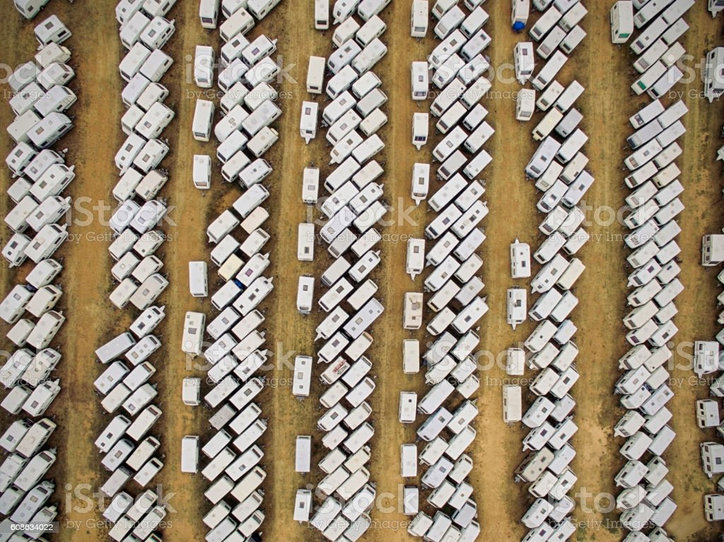 Aerial view of caravans stock photo
